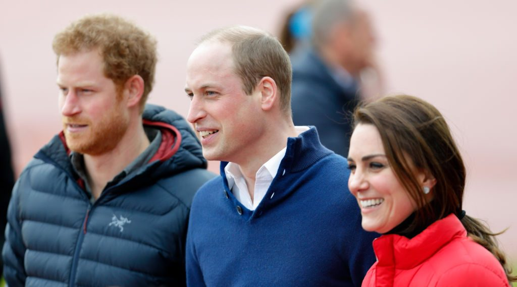 Prince Harry, Prince William, and Kate Middleton