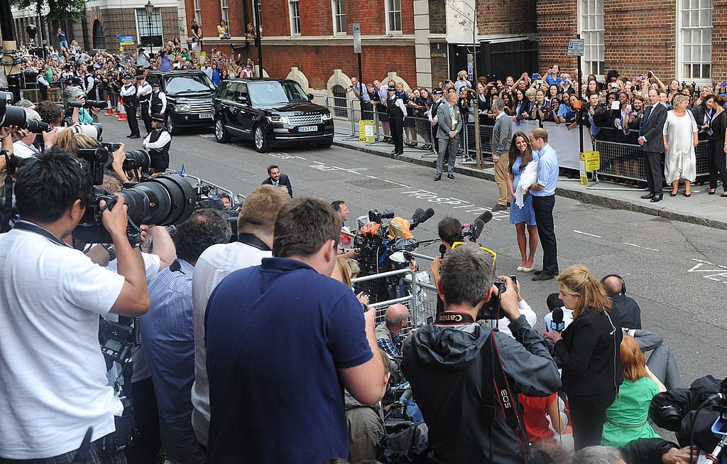 Prince William and Kate Middleton with Prince George, The Lindo Wing