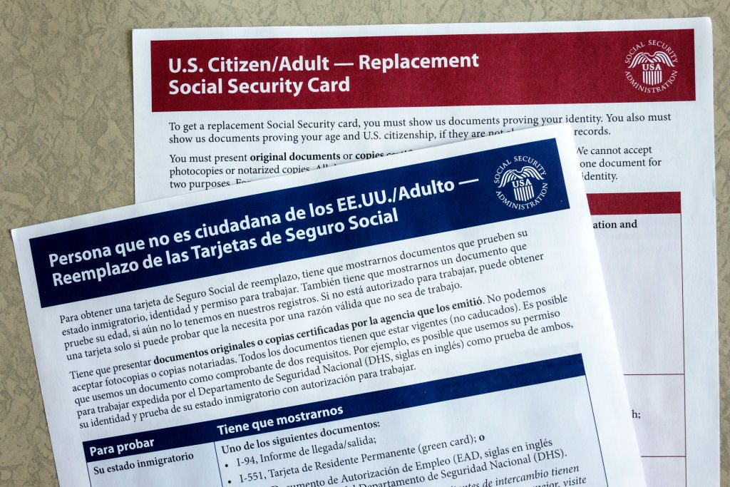 U.S. forms for applying for a replacement SS card