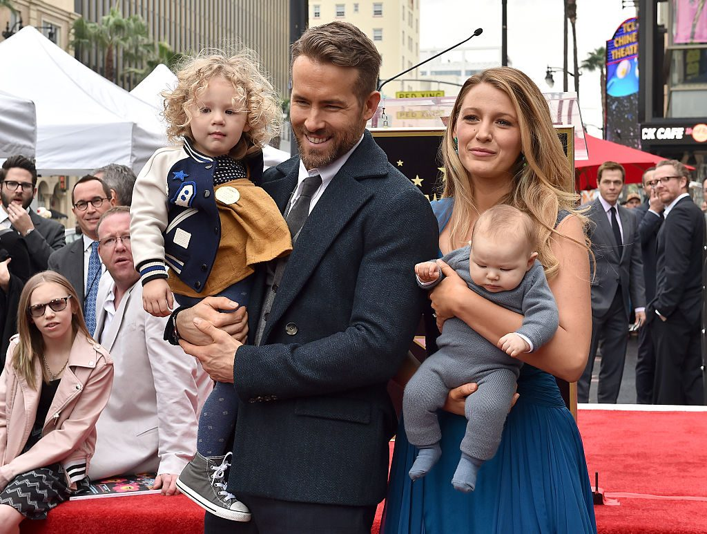 Ryan Reynolds, Blake Lively, daughters James & Ines at the ceremony honoring Reynolds with a star on the Hollywood Walk of Fame on Dec. 15, 2016.  
