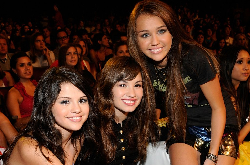 Selena Gomez, Demi Lovato, and Miley Cyrus in 2008