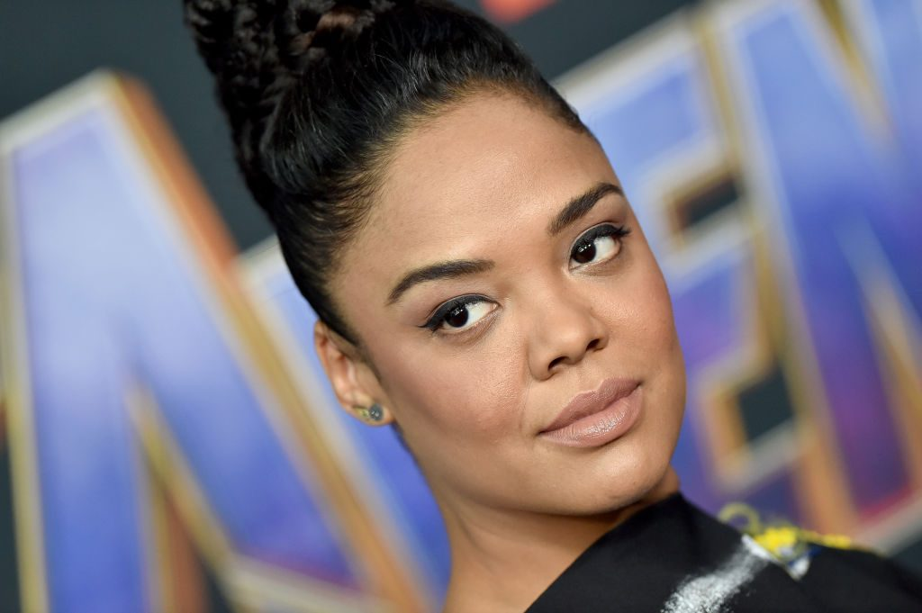 Tessa Thompson attends the World Premiere of Avengers: Endgame at Los Angeles Convention Center on April 22, 2019.