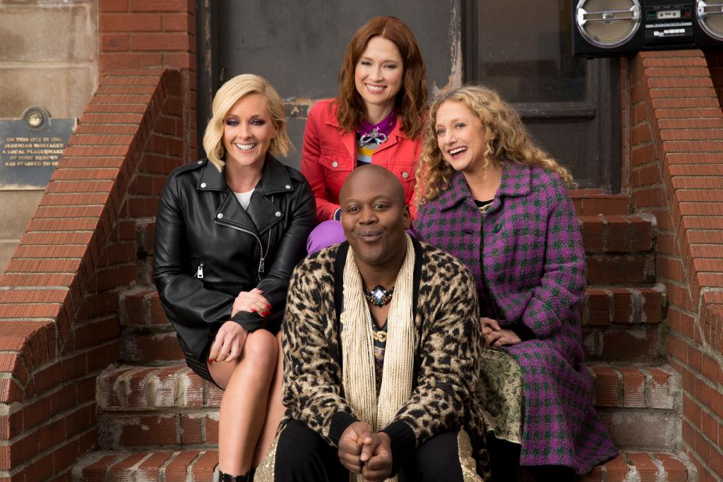 (L-R) Jane Krakowski as Jacqueline White, Ellie Kemper as Kimmy Schmidt, Tituss Burgess as Titus Andromedon, and Carol Kane as Lillian Kaushtupper in Unbreakable Kimmy Schmidt