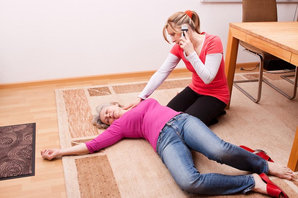 Woman having a medical emergency