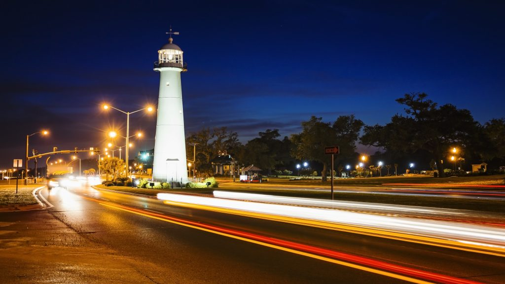 Mississippi Lighthouse at Night