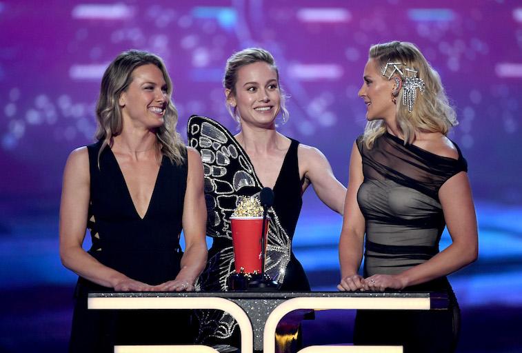 Brie Larson and stunt doubles Ingrid Kleinig and Joanna Bennett