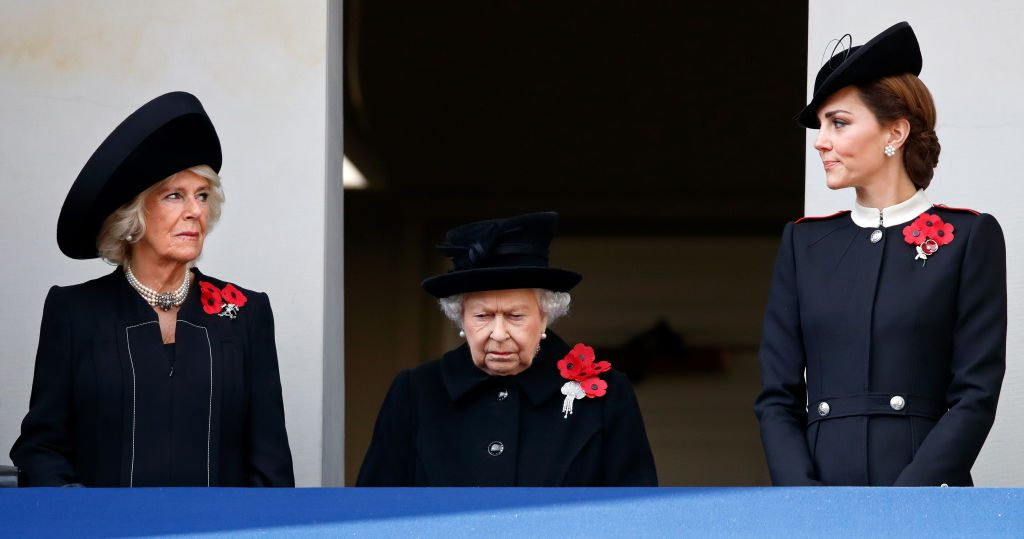 Camilla Parker Bowles, Queen Elizabeth II, and Kate Middleton