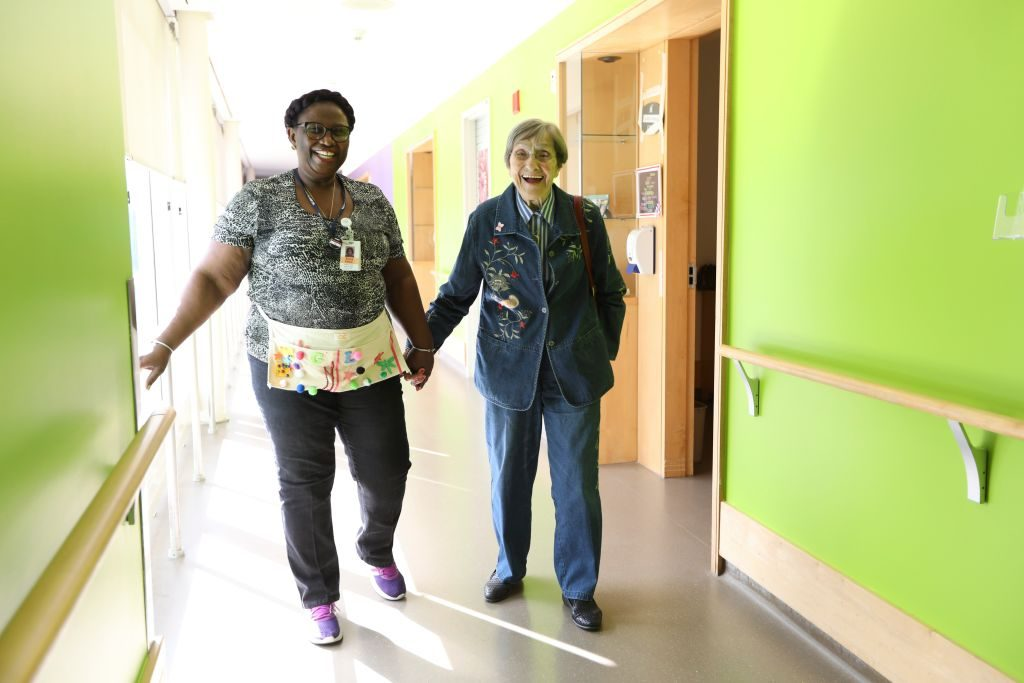 Dementia patient and her support worker