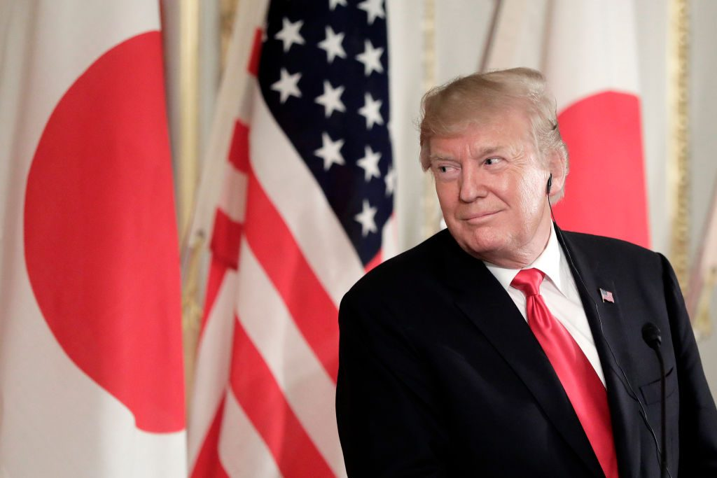 President Donald Trump reacts during a news conference with Shinzo Abe, Japan's prime minister, State Visit To Japan