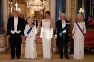 The Possible Meaning Behind the White Outfits Queen Elizabeth II, Melania Trump, Kate Middleton, and Camilla Wore to the U.S. State Dinner