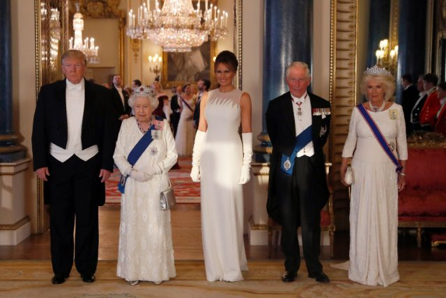 U.S. President Donald Trump, Queen Elizabeth II, First Lady Melania Trump, Prince Charles Prince of Wales and Camilla Duchess of Cornwall