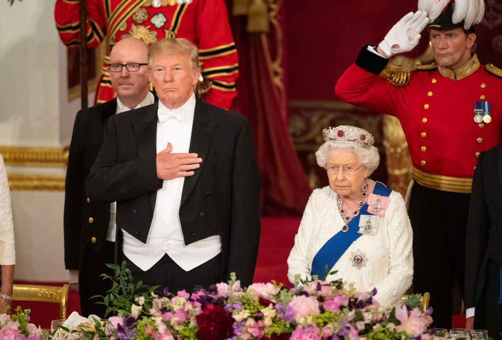 President Donald Trump and Queen Elizabeth II attend a State Banquet at Buckingham Palace