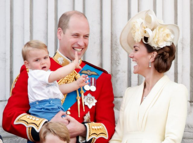 Prince Louis, Prince William, and Kate Middleton