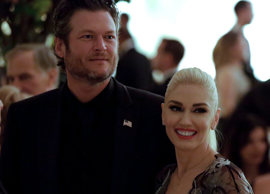 Gwen Stefani and Blake Shelton attend the State Dinner.