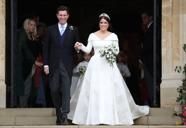 Jack Brooksbank and Princess Eugenie at wedding.