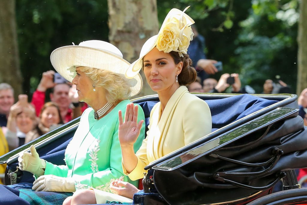Catherine Duchess of Cambridge (R) and Camilla Duchess of Cornwall