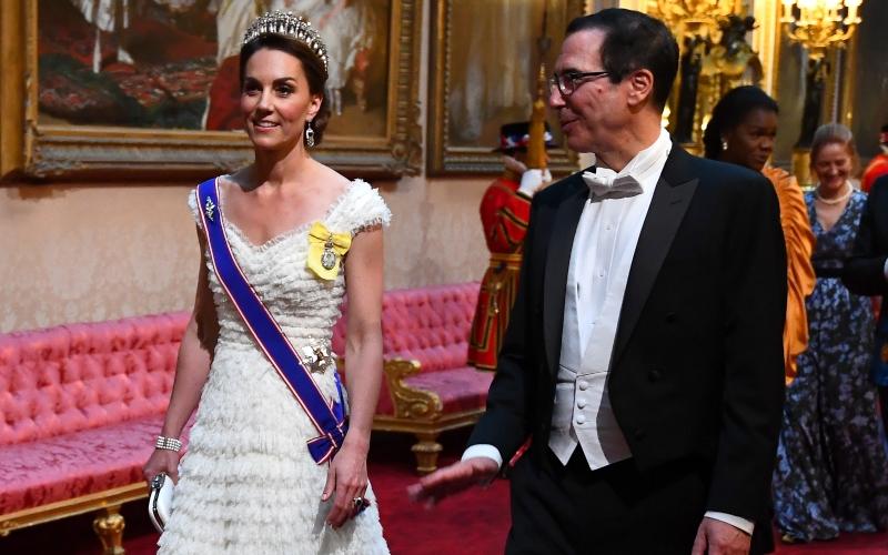 The Duchess of Cambridge and United States Secretary of the Treasury, Steven Mnuchin