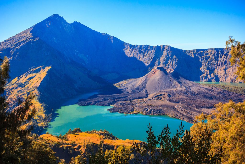 View of Mountain Rinjani, a volcano at Lombok island