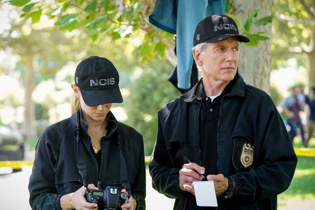 Mark Harmon as Agent Gibbs and Emily Wickersham as Agent Bishop | Sonja Flemming/CBS via Getty Images
