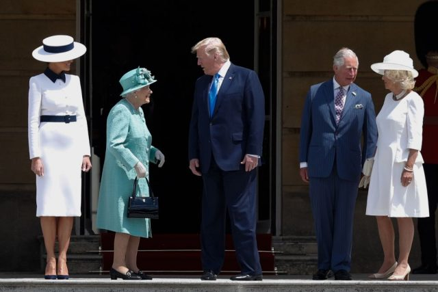 Queen Elizabeth II (2L) speaks with US President Donald Trump (C) as US First Lady Melania Trump (L) stands by with Britain's Prince Charles, Prince of Wales (2R) and Britain's Camilla, Duchess of Cornwall (R)