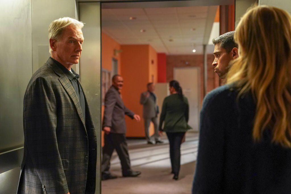 The NCIS team in the elevator.   Ali Goldstein/CBS via Getty Images