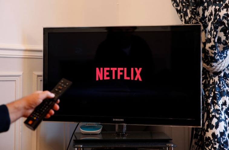 Netflix logo on TV.