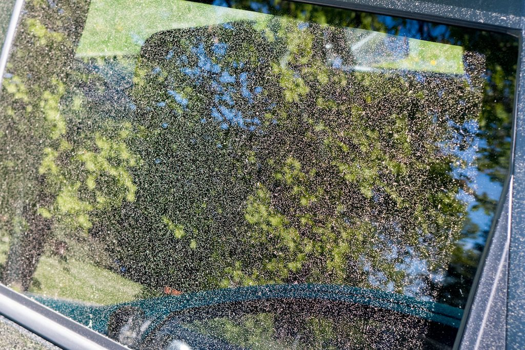 A car window collects pollen