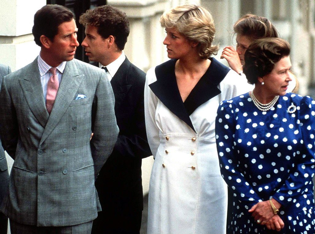 Prince Charles, Princess Diana, and Queen Elizabeth II