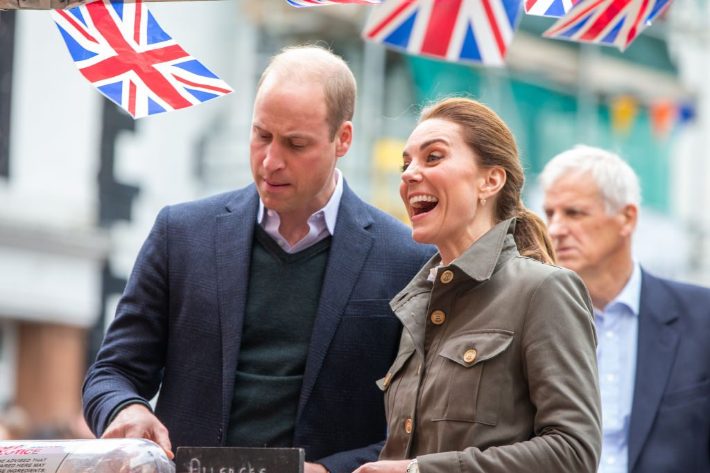 Prince William, Duke of Cambridge and Catherine, Duchess of Cambridge meet members of the public they visit Keswick Market