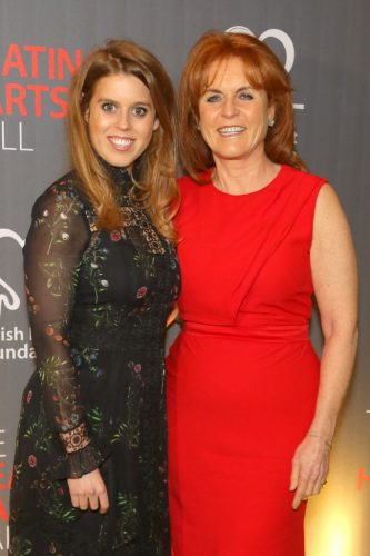 Princess Beatrice of York (L) and Sarah Ferguson, Duchess of York attend the British Heart Foundations Beating Hearts Ball at The Guildhall on February 20, 2018.