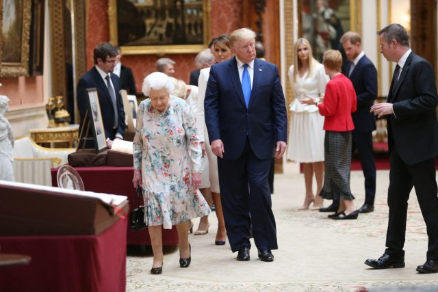 Prince Harry appeared to stay far away from Donald Trump as he met with Queen Elizabeth