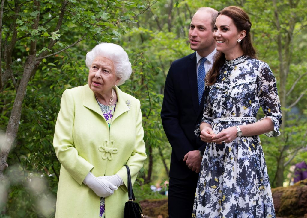 Queen Elizabeth with Duke and Duchess of Cambridge