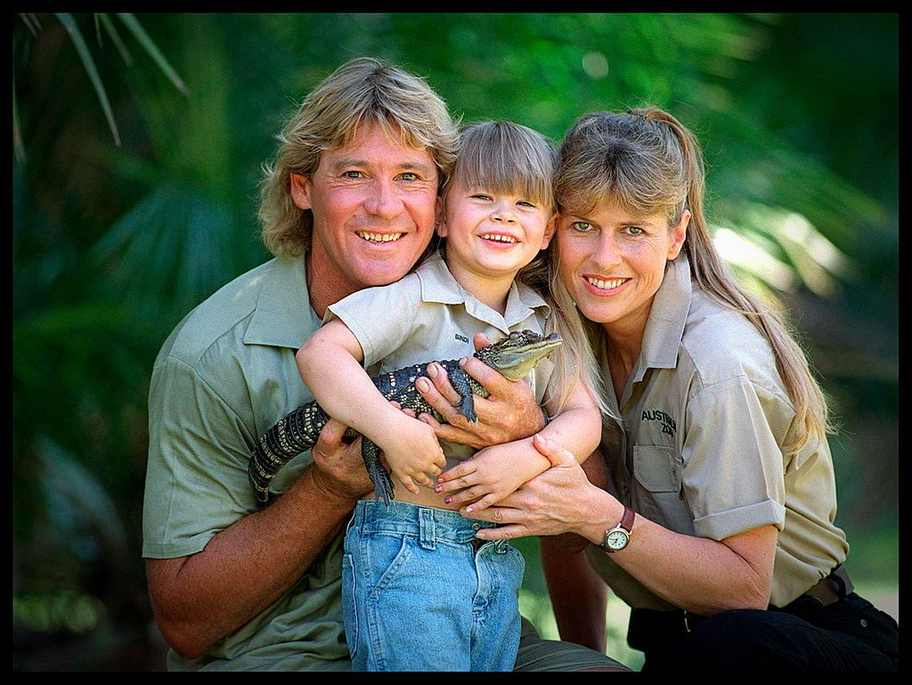 Steve Irwin, with his wife Terri and daughter Bindi