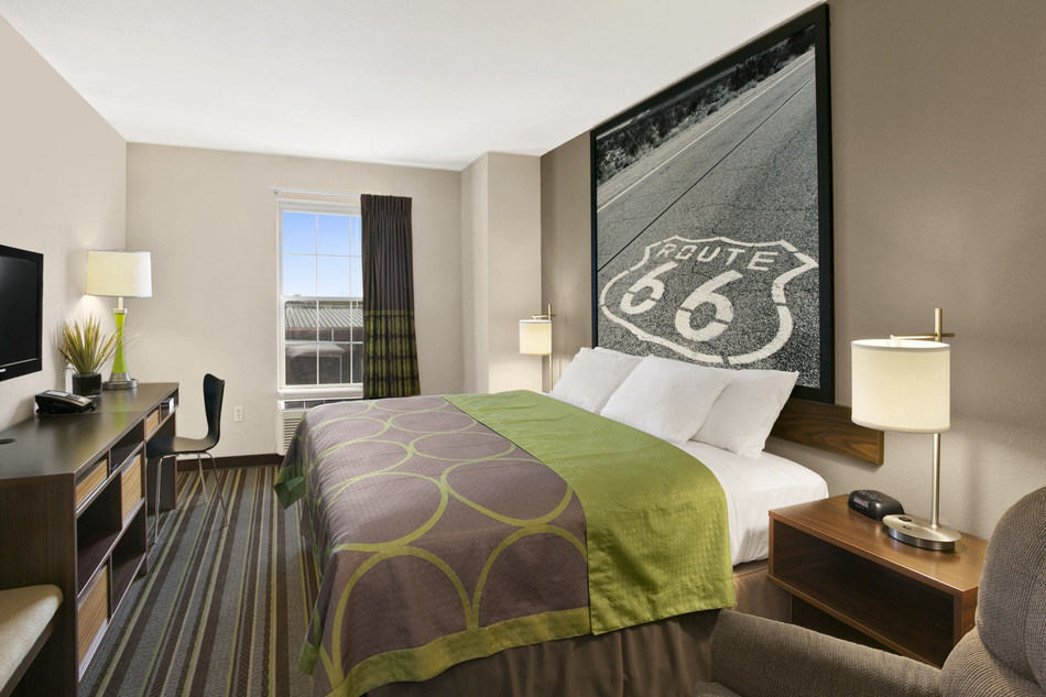 The interior of Super 8 redesigned guestroom  Image Courtesy of Wyndham
