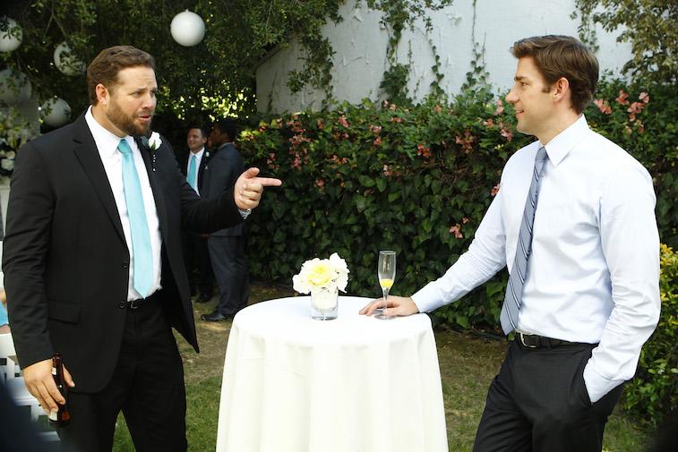 David Denman as Roy, John Krasinski as Jim Halpert on The Office