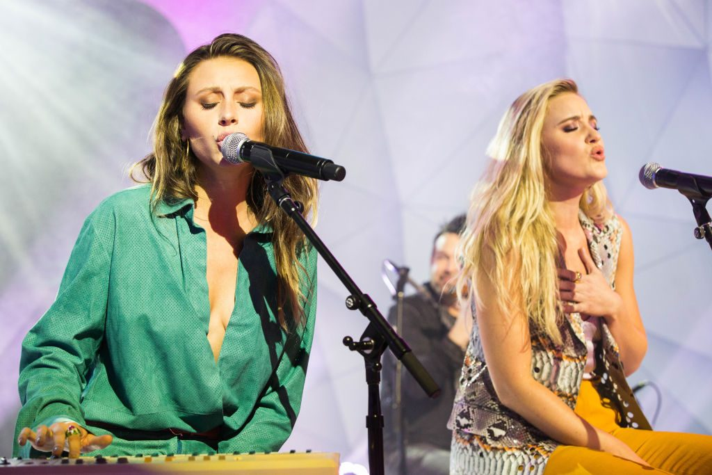Recording artists Aly Michalka and AJ Michalka from Aly & AJ perform during MTV TRL at MTV Studios on February 6, 2018 in New York City.