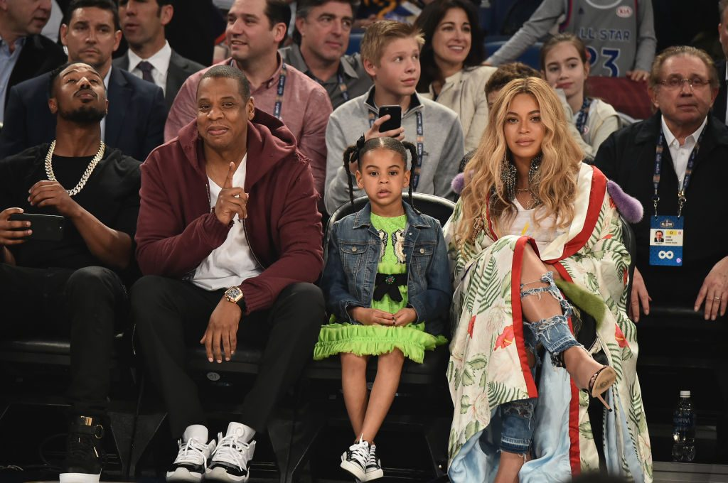 Jay-Z and Beyonce with their daughter, Blue Ivy