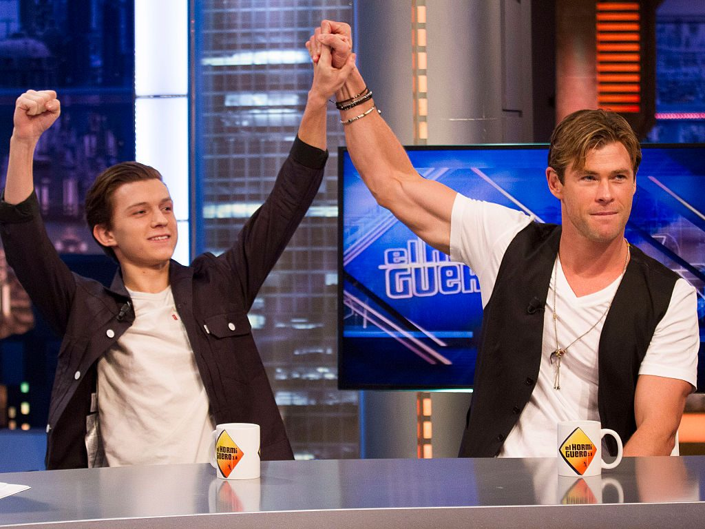Tom Holland and Chris Hemsworth