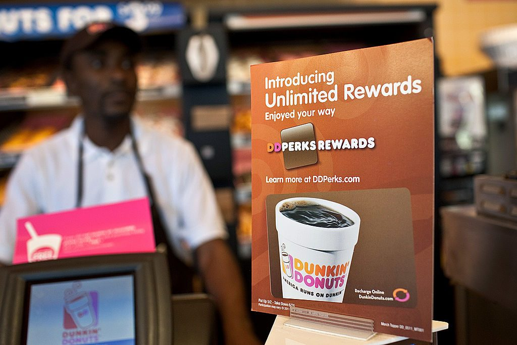 Advertisement for the Dunkin rewards program