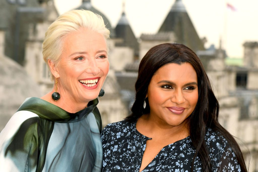 Emma Thompson and Mindy Kaling during the Late Night photocall at Corinthia Hotel London on May 17, 2019, in London, England.