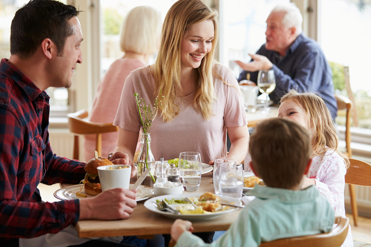 Family in a restaurant together