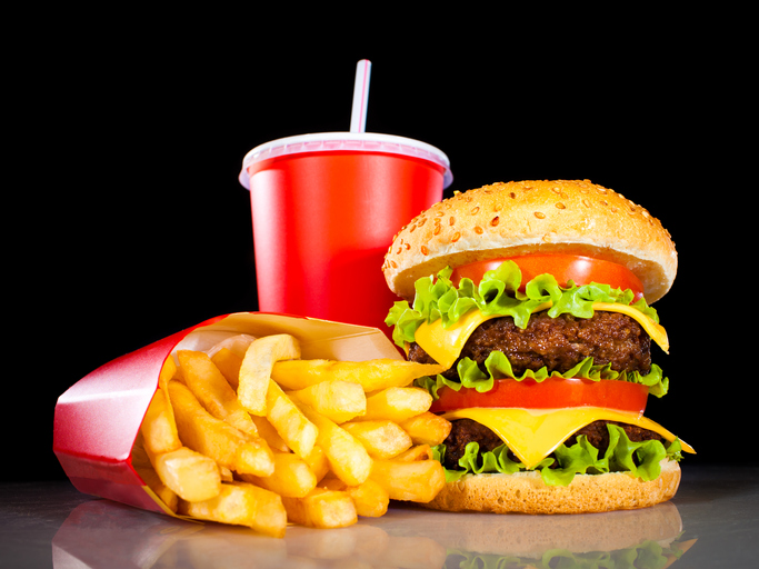 Burger, fries, and a drink
