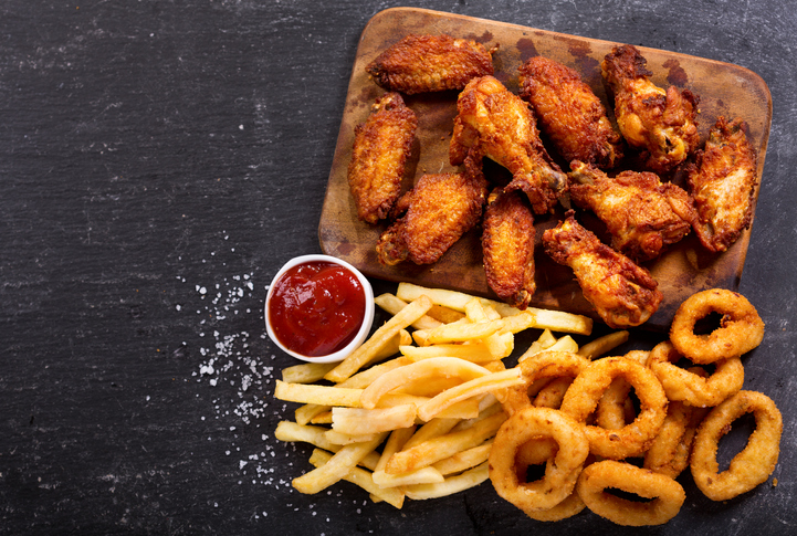 Tray of fried foods