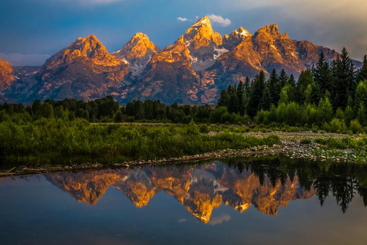 Sunrise on the Grand Teton mountains
