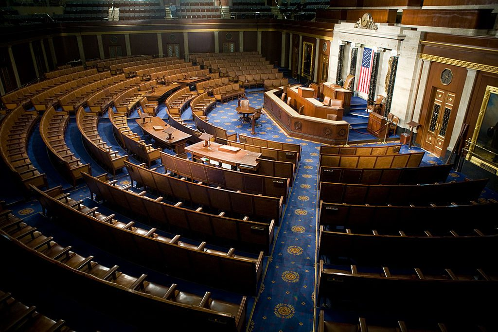 The empty chambers of the House of Representatives