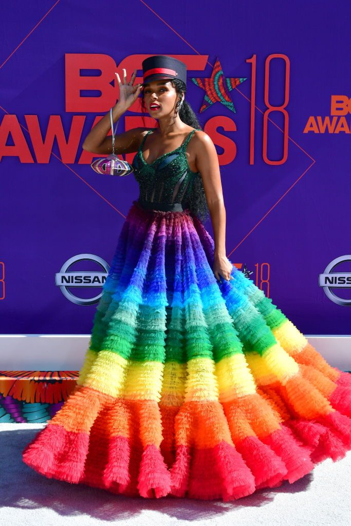 Janelle Monae arrives at the 2018 BET Awards held at Microsoft Theater on June 24, 2018, in Los Angeles, California.