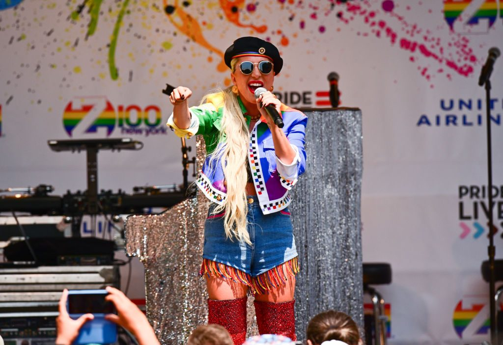 Lady Gaga gives a speech at Pride Live's 2019 Stonewall Day on June 28, 2019, in New York City.