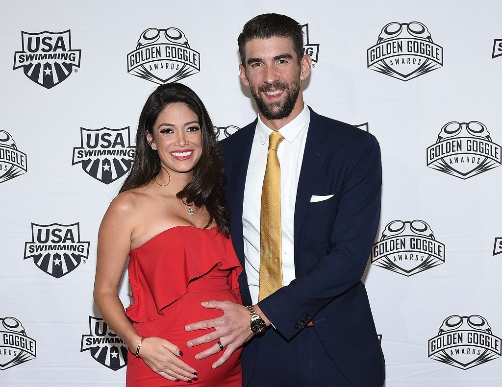 Swimmer Michael Phelps and wife Nicole Johnson attend the 2017 USA Swimming Golden Goggle Awards on November 19, 2017, in Los Angeles, California.