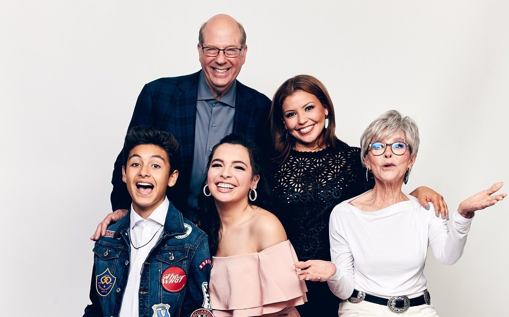(L-R) Marcel Ruiz, Stephen Tobolowsky, Isabella Gomez, Justina Machado, and Rita Moreno of Netflix's One Day at a Time