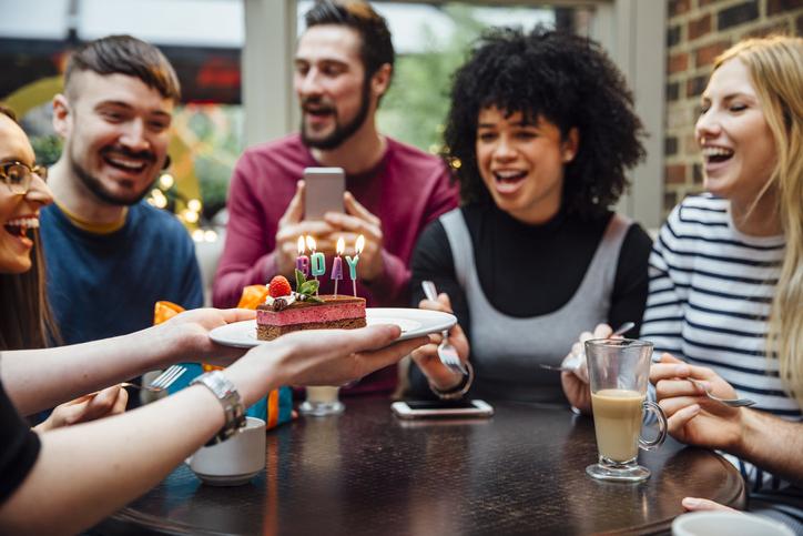 Restaurant birthday dessert
